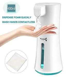 immagine di KLAS REMO Dispenser di Sapone Automatico 400ML Erogatore di Sapone Touchless con Sensore di Infrarossi per Bagno, Cucina, Ufficio, Hotel - Bianco