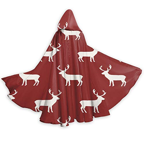 X-Peach Christmas Reindeer Adult Christmas Halloween Hooded Cloak Cape Stylish Witch Wizard Robe Cosplay Costume