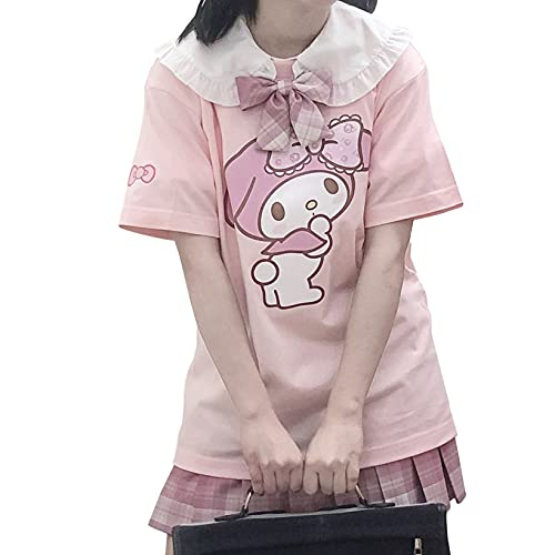 MyMelody Tシャツ レディース 可愛い 半袖 夏用 ゆったり 大きいサイズ 快適 柔らかい 薄手 アニメ 漫画 マイメロディ カジュアル おしゃれ トップス 半袖シャツ ピンク XL