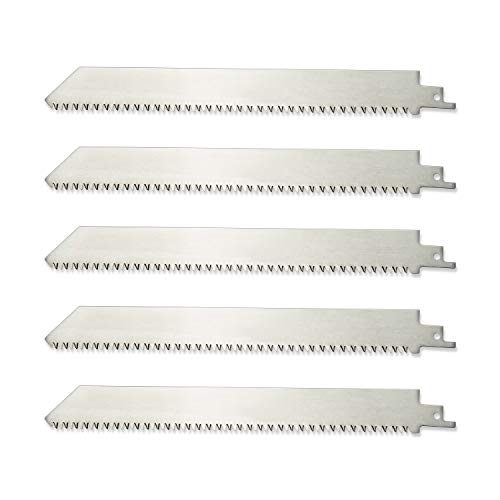 ZUZZEE 9inch 8TPI Unpainted Stainless Steel Reciprocating Saw Blade for Frozen Meat Bone Cutting Wood Pruning (5 Pack)