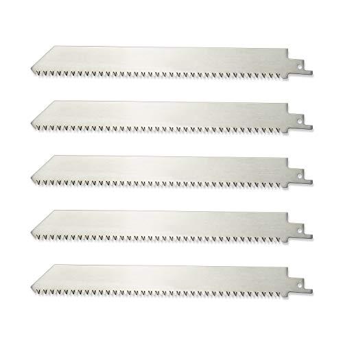 ZUZZEE Hoja de sierra alternativa de acero inoxidable 8TPI sin pintar de 9 pulgadas para cortar huesos de carne congelada poda de madera (5 unidades)