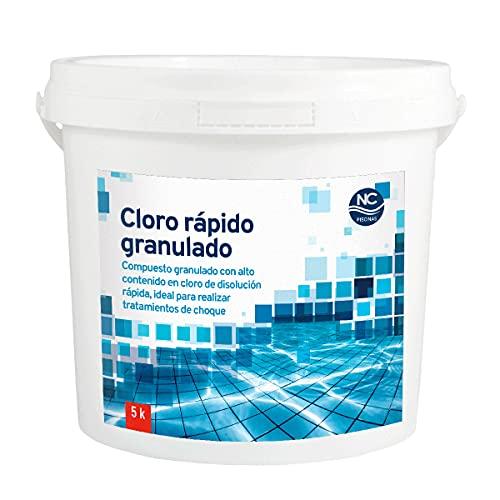 NC PISCINAS Cloro rápido granulado para Piscinas 5 Kg | Alta concentración | Disolución rápida| Fabricado en España | Válido para Piscinas de Obra, hinchables y Desmontables