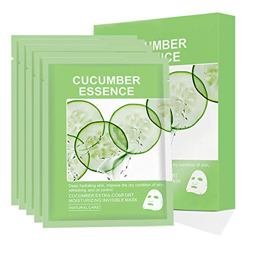 Facial Skincare,Cucumber Essence Hydrating Moisturizing Revitalizing Hydration Fruit Extract Deep Cleaning Facial Skincare Sheet for All Skin Type Care, 35ml/1.18oz, Pack of 5