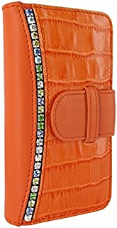 Piel Frama 678 Orange Swarovski Crocodile Leather Wallet for Apple iPhone 6 / 6S / 7/8