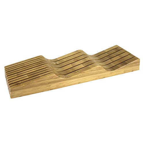 Totally Bamboo 20-2091 In- Drawer Knife Block, 17' x 5.25', Bamboo