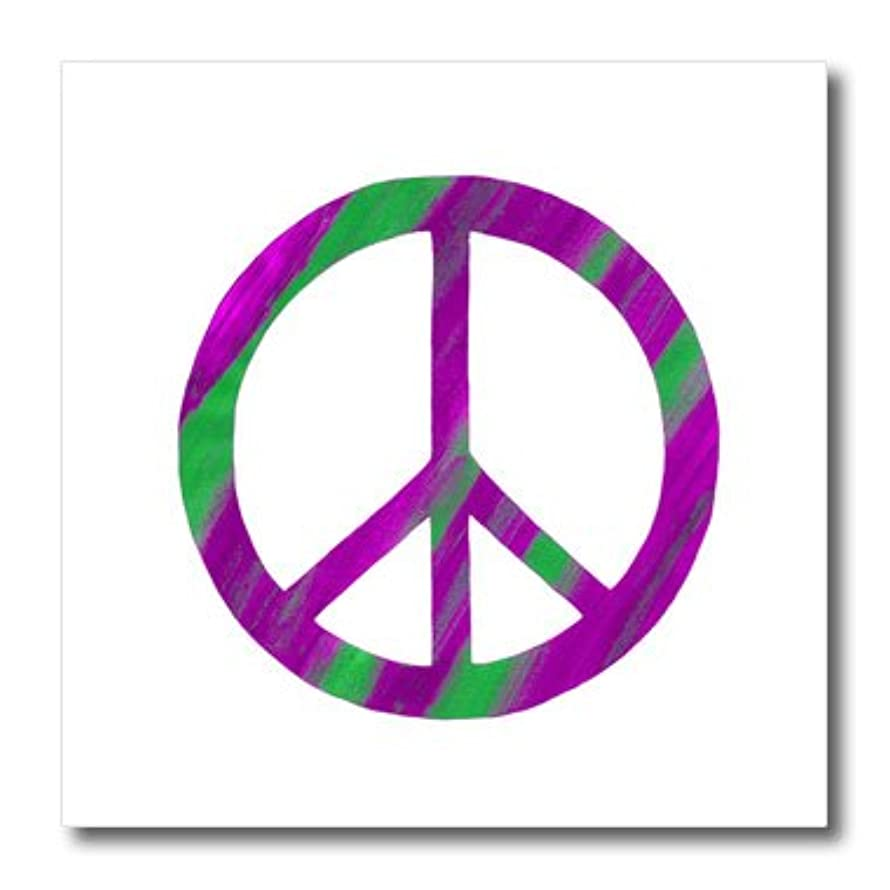 3dRose ht_18960_2 Pink Green Peace Sign Iron on Heat Transfer, 6 by 6