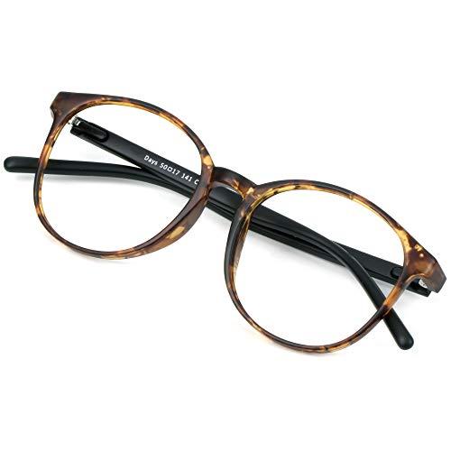 Blue Light Blocking Glasses for Women/Men, Anti Eyestrain, Computer Reading, TV Glasses, Stylish Oval Frame, Anti Glare(Tortoise,No Magnification)