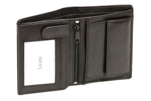 LEAS Geldbörse Herren mit RFID Schutz kompakt, Herren Geldbeutel flach RFID Folie in Echt-Leder, Portmonee im Hochformat, schwarz