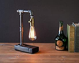 Industrial Steampunk table pipe lamp with Classic Edison bulb and weathered wood base