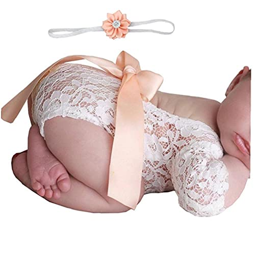 Hainice Newborn Clothing Photo Shoot Lace Romper Baby Girls Photography Props Bodysuit Romper Headband Outfits Shell Pink