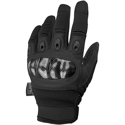MFH Tactical Handschuhe Mission Taktische Einsatzhandschuhe mit Knöchelschutz Securitygloves Polizei Arbeitshandschuh verschiedene Ausführungen (L, Schwarz)