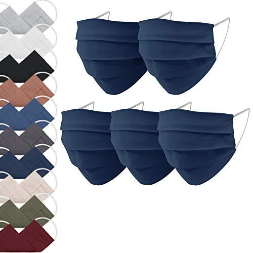 EllaTex 5er Pack Mund-Nasenschutz Masken/Atemschutz Maske Behelfsmaske Baumwolle WASCHBAR WIEDERVERWENDBAR in 10 Farben verfügbar, Farbe:Navy Blau