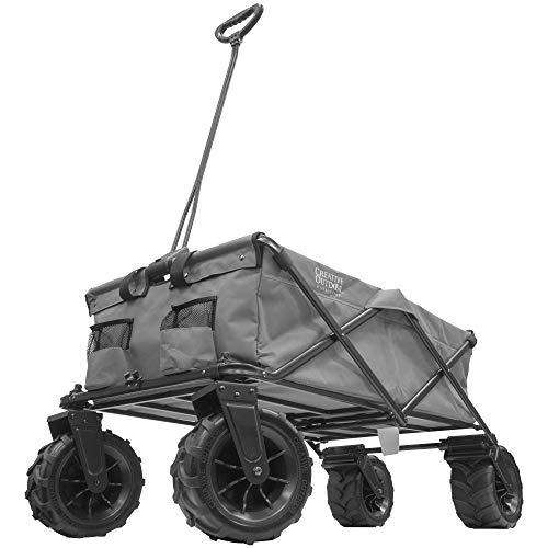Creative Outdoor Giant All-Terrain Collapsible Folding Wagon Cart | XXXL Monster Series Wagons | Beach Park Garden & Tailgate | Gray