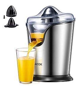 AICOK Exprimidor Eléctrico con 2 Conos de Tamaño, 100 W Exprimidor de Naranjas Eléctrico con Motor Ultra Silencioso y Función Antigoteo, Apto para Lavavajillas, Acero Inoxidable, Sin BPA