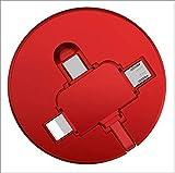 JayQm Cable de Carga 3 en 1, Cable de Cargador de telefonía Celular retráctil USB Cable de Carga rápida para (Tipo-C, Android, teléfono iOS 2.1A 1M),Rojo