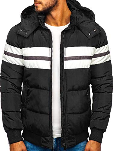 BOLF Herren Winterjacke Steppjacke Sportjacke Daunenjacke Puffer Jacket Gepolstert Outdoor Casual Street Look Jack Davis JK397 Schwarz XL [4D4]