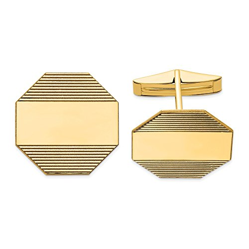 14k Yellow Gold Mens Octagonal Line Design Cuff Links Cufflinks Link Fine Jewellery For Dad Mens Gifts For Him steampunk buy now online