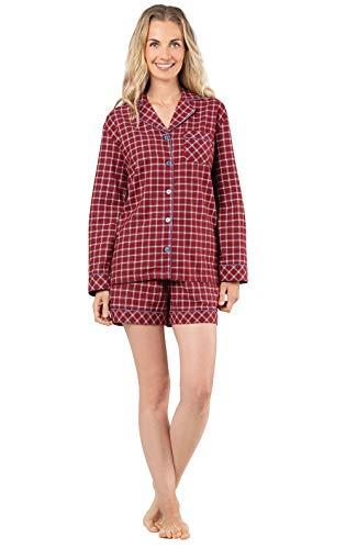 PajamaGram Pajamas Women Cotton Flannel - Plaid Pajamas for Women, Red, M, 8-10