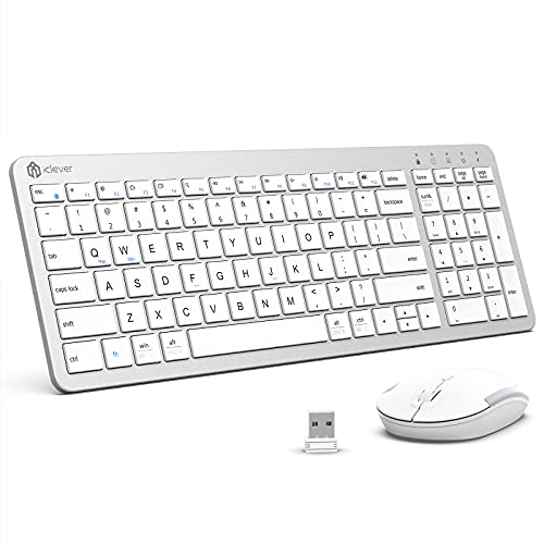Wireless Keyboard and Mouse, iClever GCA26S Rechargeable Wireless Keyboard Ergonomic Full Size Design with Number Pad, 2.4G Slim White Keyboard and Mouse for Mac, Windows, Computer, Desktop, Notebook