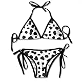 Bikini Cow Skin Texture Pattern Black and White Background Animal Print Desig Bikini Set Two Piece,Triangle Padded Cut out Swimsuit for Ladies Swimming Costume