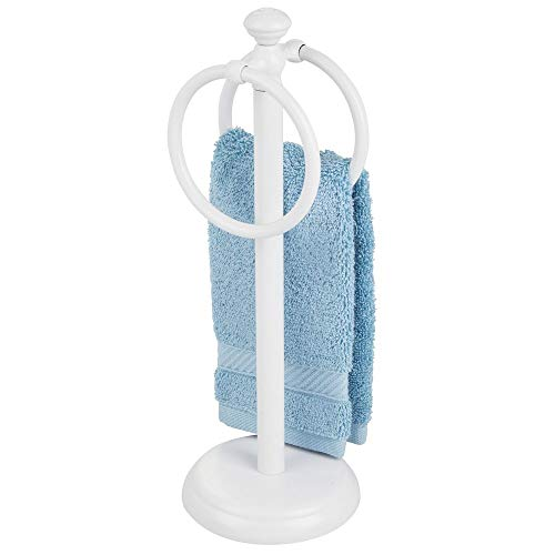 mDesign Decorative Metal Fingertip Towel Holder Stand for Bathroom Vanity Countertops to Display and Store Small Guest Towels or Washcloths - 2 Hanging Rings, 14.25' High - White