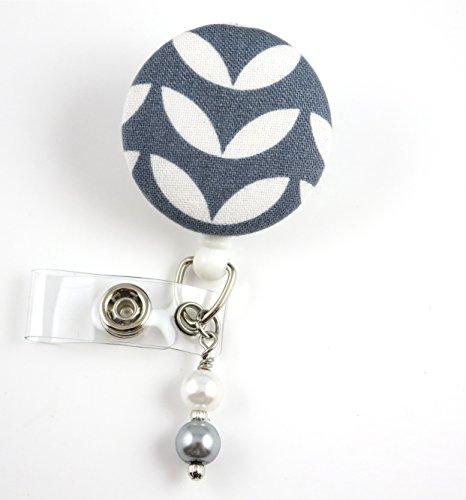 Gray Liney Leaves- Nurse Badge Reel - Retractable ID Badge Holder - Nurse Badge - Badge Clip - Badge Reels - Pediatric - RN - Name Badge Holder