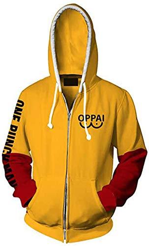 HonRmon Anime One Punch Man Hoodie Oppai Saitama Cosplay Costume Zip Up Hooded Sweatshirt (XX-Large, 02)