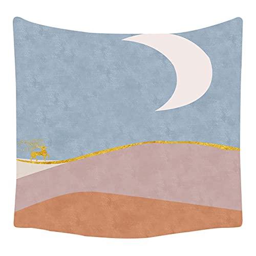YYRAIN Tapiz De Luna Azul Y Amarillo Decoración del Hogar Pegatinas De Pared Cuadros Colgantes Ropa De Cama Colcha Toallas De Playa 230cm x 150cm{Width×Height} B