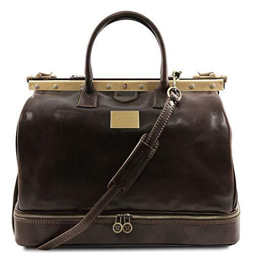 Tuscany Leather - Barcelona - Maleta de Viaje en Piel con Doble Fondo Marrón Oscuro - TL141185/5