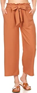 Womens Paper Bag Waist Cropped Pants Casual Wide Leg with Pockets