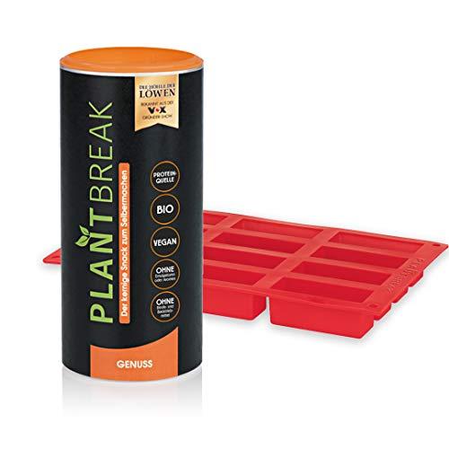 PLANTBREAK vegane Fitnessriegel-Backmischung + Silikon-Backform | kernig-würziger Protein-Snack zum Selbermachen, einfach und schnell zubereitet | 12 Riegel [300 g]