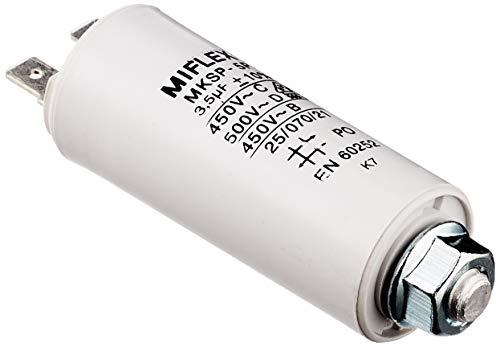 AnlaufKondensator MotorKondensator 3,5µF 450V 25x58mm Stecker M8 ; Miflex 3,5uF