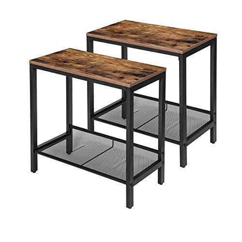 HOOBRO Side Table, Set of 2 Narrow Nightstands, Industrial End Table with Flat or Slant Adjustable Mesh Shelf for Small Spaces, Stable Metal Frame and Easy Assembly, Rustic Brown BF24BZ01
