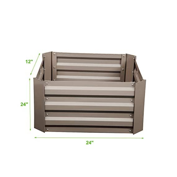 """Klismos 2'x2'garden bed metal outdoor galvanized steel planter box patio raised garden bed kit for vegetables/flower… 3 【overall dimensions】---- 94. 48""""(l)x47. 24""""(w)x11. 81""""(h) 【open-bottom garden bed】 【easy to assemble for the outdoor planter boxes】"""