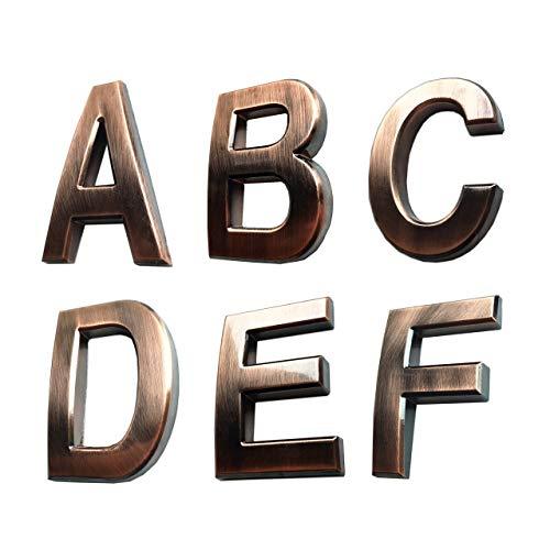 Selbstklebende 3D Metall Hausnummern Bronze Buchstaben Briefkasten Nummer Massiv Silber Aufkleber für Wohnung Adresse Hotel 0 1 2 3 4 5 6 7 8 9 Hopewan A to F Bronze 2