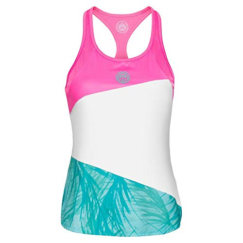 BIDI BADU Fleur Tech - Camiseta de Tirantes para Mujer, Mujer, Fleur Tech Tank, W334006201-PKWHMT, Rosa, Blanco, Menta, Large