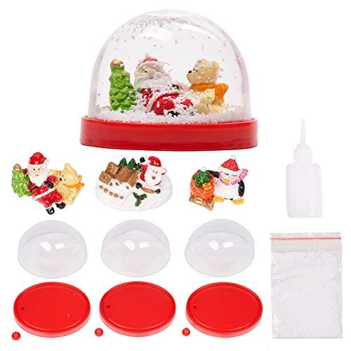 8 Stück Weihnachten Schneekugel Kit| 3 Weihnachtsfiguren, 3 Snowglobe Vitrinen, 1 Beutel Glitzerschnee, 1 Tube Kleber| Selber Machen, Basteln, Kreative Aktivität, Geschenke für Kinder Erwachsene.