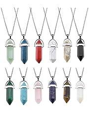 YINETTECH 9 sztuk/12 sztuk sześciokątnych wisiorków z kryształem kwarcowym z łańcuszkami, zestaw biżuterii, bransoletka charms, 12 sztuk