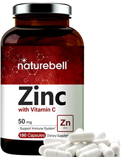 Zinc 50mg (Zinc Supplement with Vitamin C), 180 Capsules, Best Immune Vitamins to Support Immune System and Antioxidant, Non-GMO and Made in USA