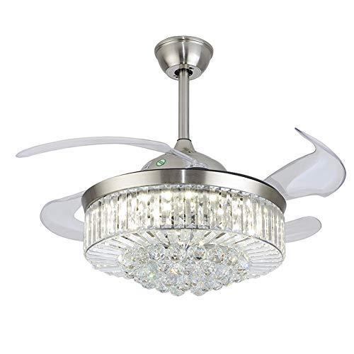 Modern Fandelier Crystal Retractable Ceiling Fans Light 3 Color change and Remote Invisible LED Crystal Chandelier Fan for Living Room Dining Room Hall-Polished Chrome 42 Inches (Silver)