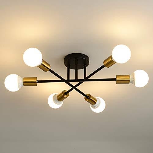SENQIU Lámpara de techo de metal para interiores,Iluminación de techo con luz con base 6 E27,lámpara de araña dorada sin bulbos,adecuada para colgantes de dormitorio,sala de estar y cocina