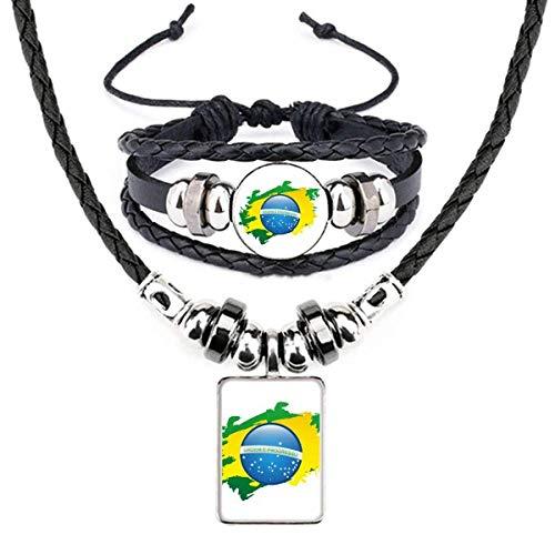 Conjunto de joias de pulseira de couro com mapa de elementos culturais da bandeira do Brasil
