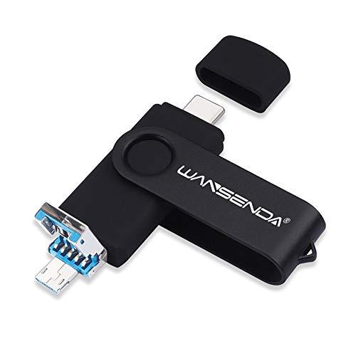 WANSENDA Memoria USB Tipo C 256GB OTG 3 en 1 USB C y Micro USB y USB 3.0 Copia de Seguridad de la Unidad fotográfica para Dispositivos Android/PC/Mac (256G, Negro)