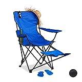 Relaxdays Chaise de Camping Pliante Repose-Pieds Porte-Boissons 120 kg Fauteuil Pliable pêche, Bleu