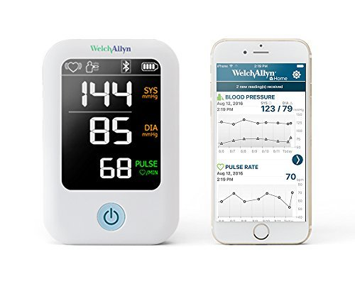 Welch Allyn Home - H-BP100SBP 1700 Series Blood Pressure Monitor and Upper Arm Cuff, Clinical-grade Technology and Easy Bluetooth Smartphone Connectivity HBP100SBP
