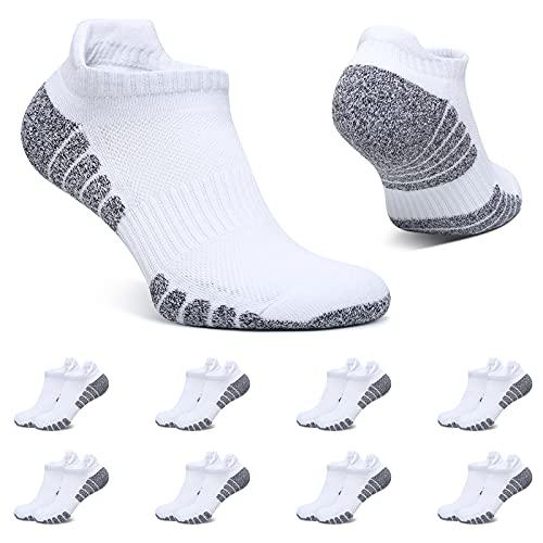 BUTTBILL Calcetines Tobilleros Hombre Blanco 43-46 Calcetines Cortos Mujer 8 Pares Deportivos Algodon Transpirables