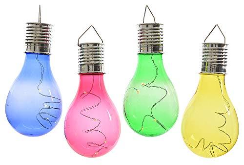 zeitzone 4 Stück Solar Glühbirne für Garten LED Bunt Partyleuchten für Pavillon Partydeko