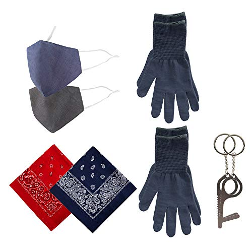 Wembley Washable & Resuseable Personal Protection Face Mask, Gloves, and Touch Tool Utility Kit, Red/Blue, One Size