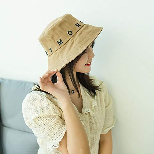 wtnhz Sombrero de Pescador Coreano Mujer Verano Cubierta Lateral Grande Cara Ocio Protector Solar Sombrero para el Sol