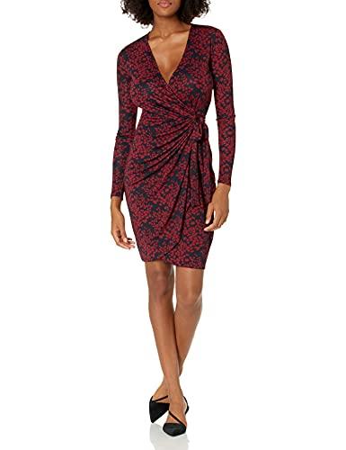 Amazon Brand - Lark & Ro Women's Classic Long Sleeve V-Neck Compact Matte Jersey Wrap Dress, Navy/Burgundy Gingko, Large